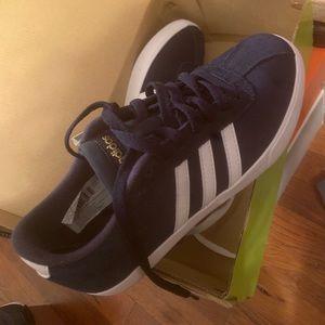 Adidas blue suede sneakers
